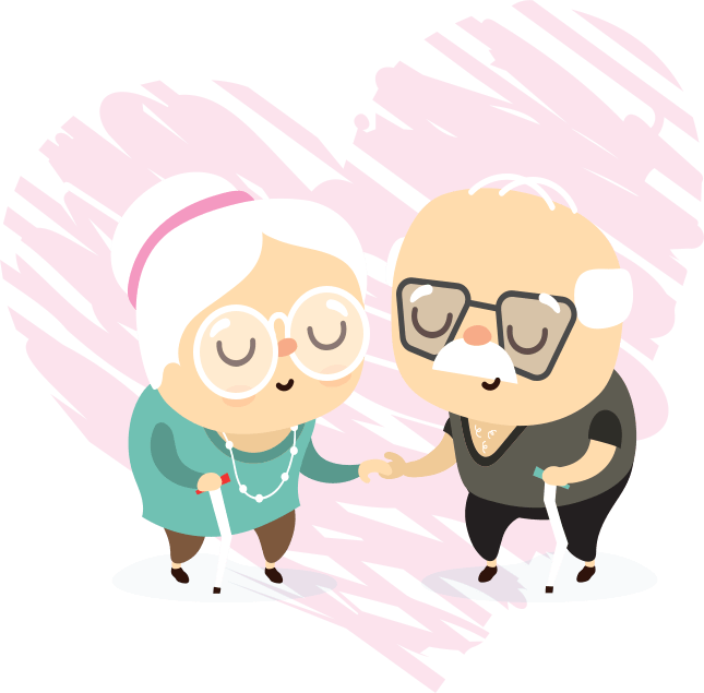 vector illustration of seniors holding hands
