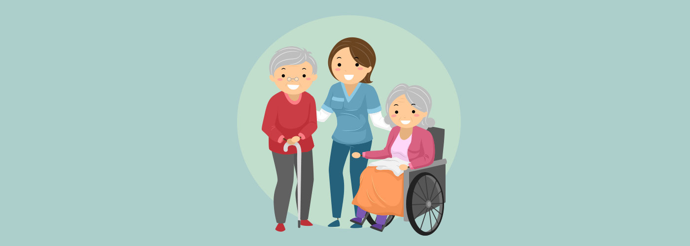 Stickman Illustration of a Caregiver Assisting Elderly Patients